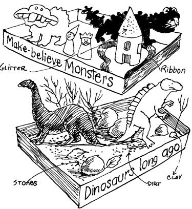 dinosaurs and monster dioramas