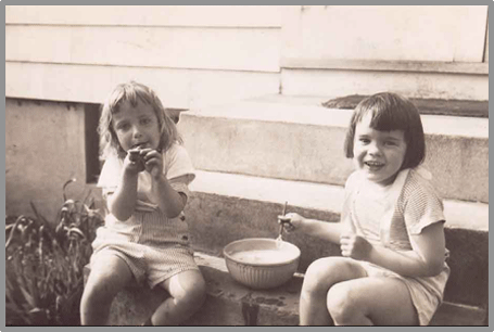 Beth Kolehmainen and Jean Marzollo blowing bubbles at age 4